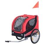 Pawhut Fahrradanhänger für Hunde rot/schwarz