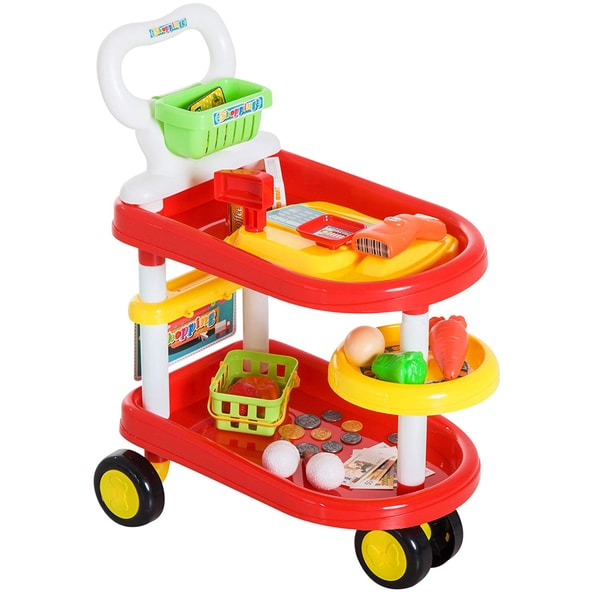 Homcom Kinder Einkaufstrolley rot