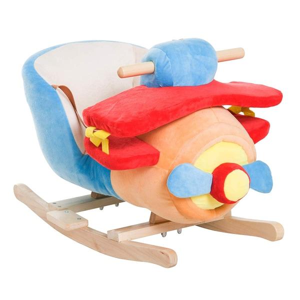 Homcom Schaukelspielzeug als Flugzeug blau-rot-orange