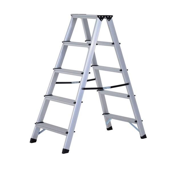 Homcom Trittleiter mit 5 Stufen silber