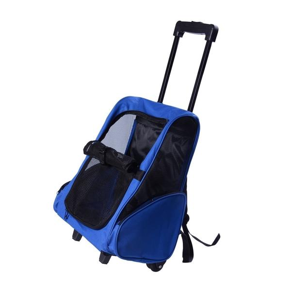 Pawhut 2 in 1 Hundetasche als Trolley oder Rucksack verwendbar blau