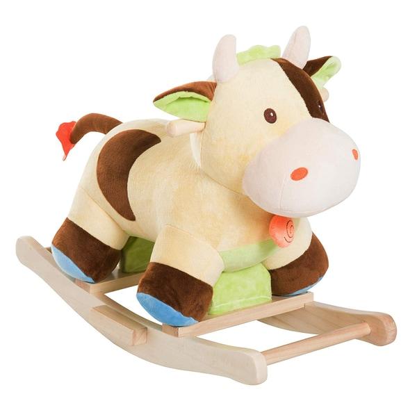 Homcom Kinder Plüsch-Schaukeltier als Kuh braun/gelb