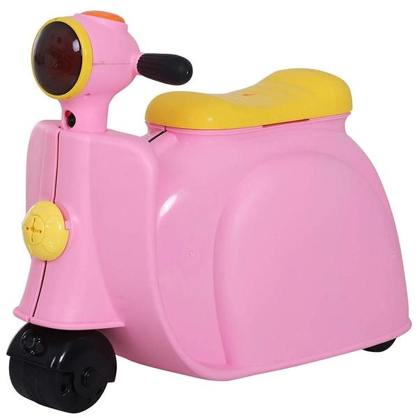 Homcom Kinderkoffer als Motorrad rosa