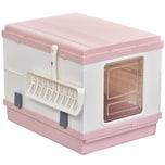 Pawhut Katzentoilette mit Auffangschale und Schaufel rosa/weiß