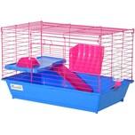Pawhut Kleintierkäfig mit Zubehör blau/pink