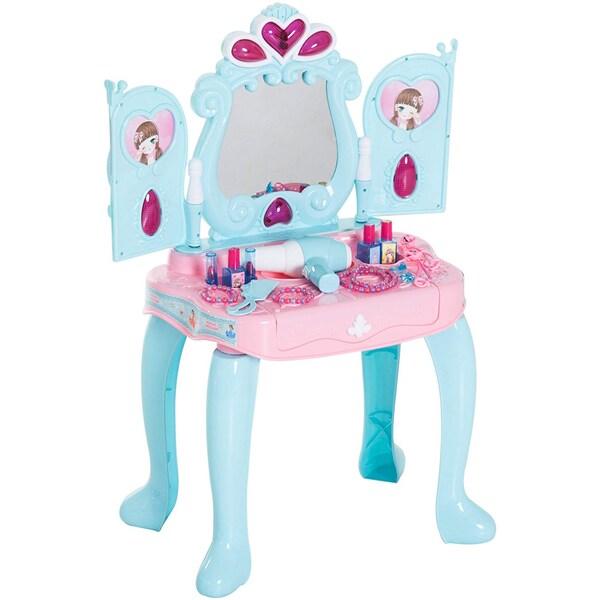 Homcom Kinder Schminktisch mit Klavier hellgrün-rosa