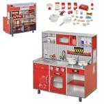 Homcom Kinderküche/Feuerwehrhaus mit Zubehör rot