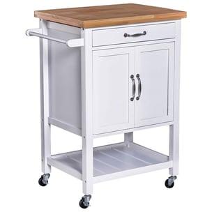 Homcom Küchentrolley mit zahlreichen Staumöglichkeiten weiß/natur
