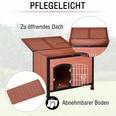 Pawhut Hundehhütte mit Drahttür braun