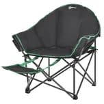 Outsunny Campingstuhl mit Fußstütze schwarz, grün