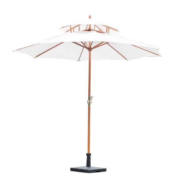 Outsunny Sonnenschirm mit Doppeldach weiß-braun
