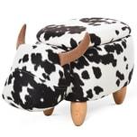 Homcom Kinderhocker im Kuh Design schwarz/weiß/natur