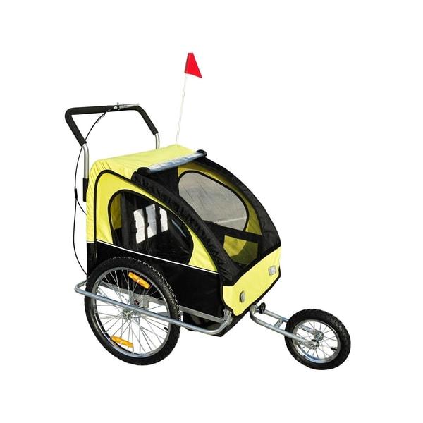Homcom 2 in1 Kinderfahrradanhänger gelb-schwarz