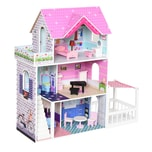 Homcom Puppenhaus mit 3 Etagen rosa