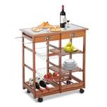 Homcom Küchenwagen mit 2 Schubfächer/Flaschenablage natur