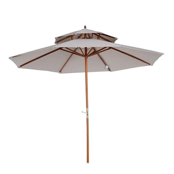 Outsunny Sonnenschirm mit Doppeldach grau