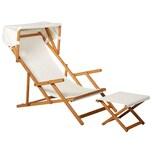 Outsunny Relaxliege mit Hocker und Sonnendach natur/weiß