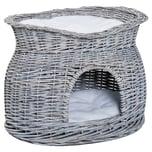 Pawhut Katzenkorb mit 2 Kissen grau