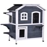 Pawhut Katzenhaus mit 2 Etagen grau/weiß