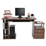 Homcom Computertisch mit ausziehbarer Tastaturhalterung braun/silber