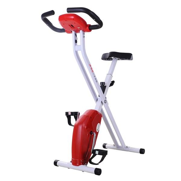 Homcom Fitnessfahrrad mit Display weiß,rot