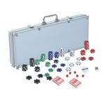 Homcom Pokerkoffer inklusive Pokerset silber