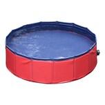 Pawhut Hunde Swimmingpool mit Wasserablassventil rot/blau
