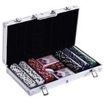 Homcom Pokerkoffer mit 300 Chips silber
