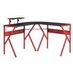 Homcom Gamingtisch in L-Form schwarz, rot