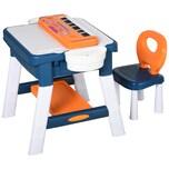 Homcom 2-in-1 Kinderspieltisch mit Keyboard und Bausteinen mehrfarbig