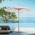 Outsunny Sonnenschirm dreifach höhenverstellbar cremeweiß-natur