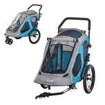 Pawhut Fahrradanhänger für Hunde blau, grau, schwarz