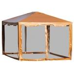 Outsunny Pavillon mit Seitenwänden kaffeebraun