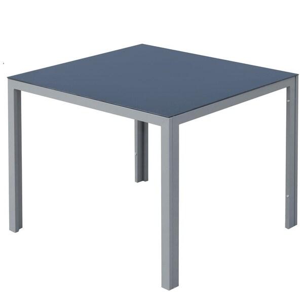 Outsunny Gartentisch mit Glasplatte schwarz/silber
