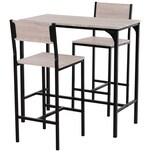 Homcom Bartisch mit 2 Stühlen natur/schwarz