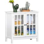 Homcom Küchenschrank mit Glastüren Weiß