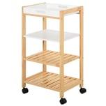 Homcom Küchenwagen mit Ablage und abnehmbaren Tablett natur/weiß