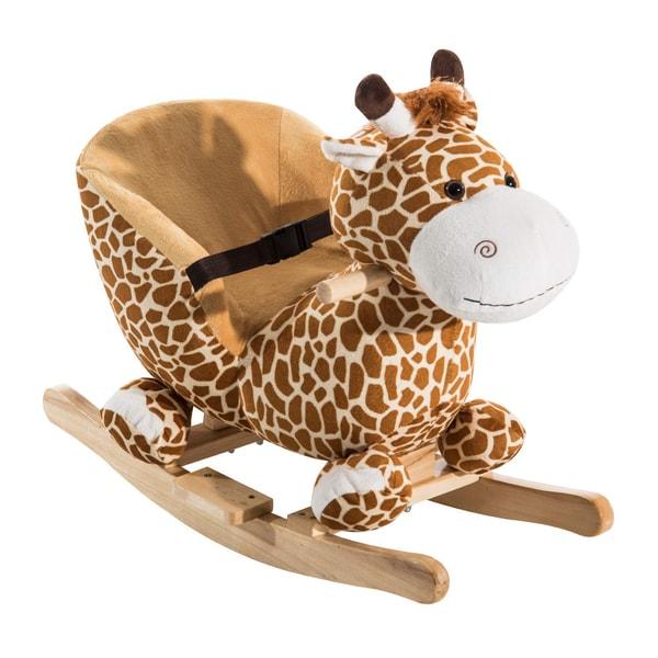 Homcom Kinder Schaukelpferd als Giraffe gelb/hellbraun