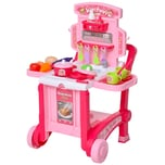 Homcom Kinderspielküche mit 42-teiligem Zubehörset rosa