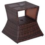 Outsunny Rattan-Gartentisch mit Sonnenschirm-Halterung braun