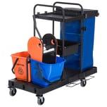 Homcom Putzwagen mit 4 leichtgängigen Rollen schwarz/blau/orange