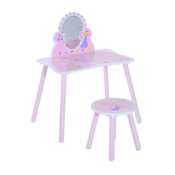 Homcom Kinder Schminktisch inklusive Hocker rosa/weiß/pink/blau/gelb