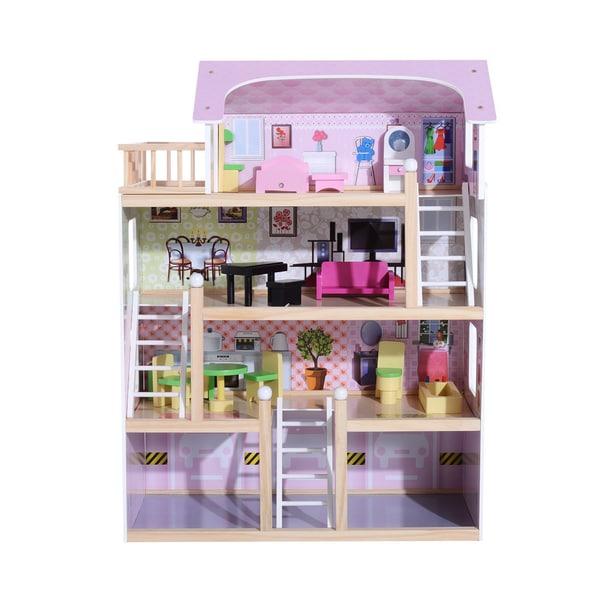 Homcom Kinder Puppenhaus mit Möbeln rosa