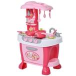 Homcom Kinderspielküche mit 38-teiligem Zubehörset rosa