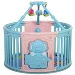 Homcom Baby Laufgitter mit Tierprint rosa/blau