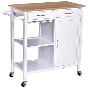 Homcom Küchenrollwagen mit vielen Staumöglichkeiten weiß/natur