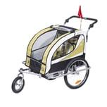 Homcom 2 in 1 Fahrradanhänger für 2 Kinder gelb/weiß/schwarz