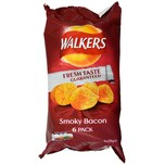 Walkers Smoky Bacon, 6 x 25g Pack - Kartoffelchips Räucherspeck-Geschmack