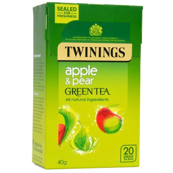 Twinings Grüner Tee Apfel & Birne 20 Teebeutel - aromatisierter Grüntee Apfel-Birne-Geschmack