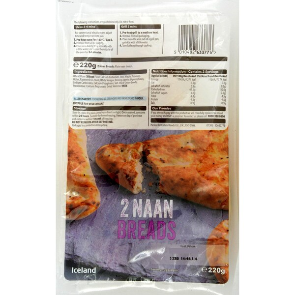 Iceland 2 Naan Brote 220g